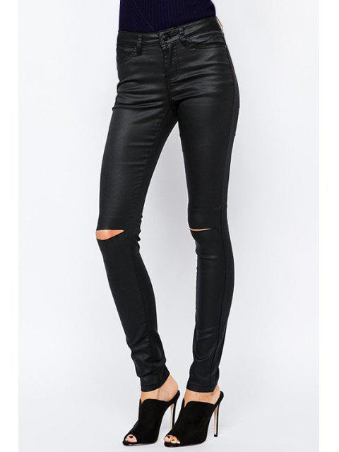 best Solid Color High Waisted Casual Ripped Pants - BLACK XL Mobile