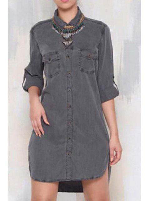 sale Single-Breasted Denim Shirt Dress - GRAY XL Mobile