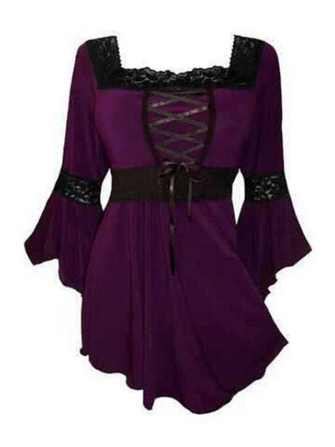 latest Square Neck Long Bell Sleeve T-Shirt - PURPLE 2XL Mobile