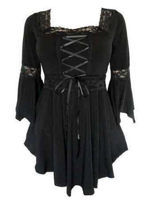 fancy Square Neck Long Bell Sleeve T-Shirt - BLACK 4XL Mobile