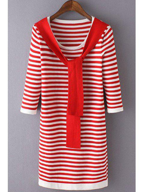 online 3/4 Sleeve Striped Sweater Dress -   Mobile