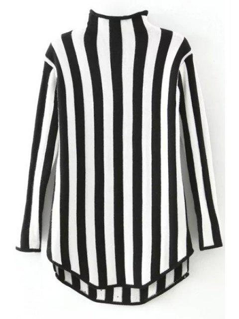 trendy Stand Neck Vertical Stripes Sweater - BLACK ONE SIZE(FIT SIZE XS TO M) Mobile
