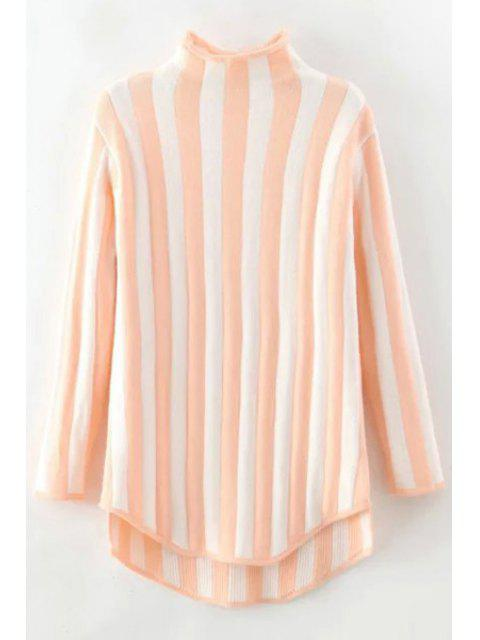 chic Stand Neck Vertical Stripes Sweater - PINK ONE SIZE(FIT SIZE XS TO M) Mobile
