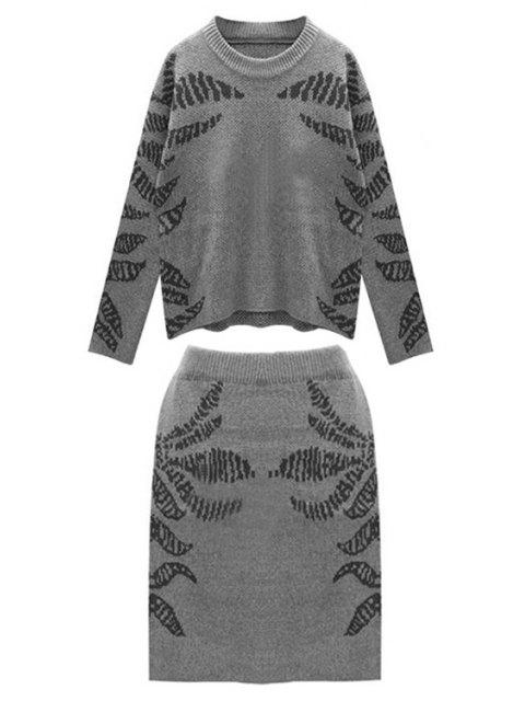 ladies Blue Pattern Long Sleeve Jumper and Skirt Suit - BLACK ONE SIZE(FIT SIZE XS TO M) Mobile
