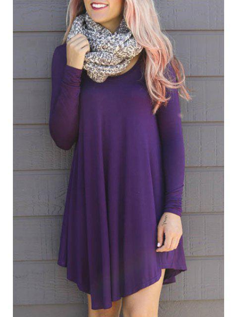 buy Solid Color Asymmetric Long Sleeves Dress - PURPLE 2XL Mobile