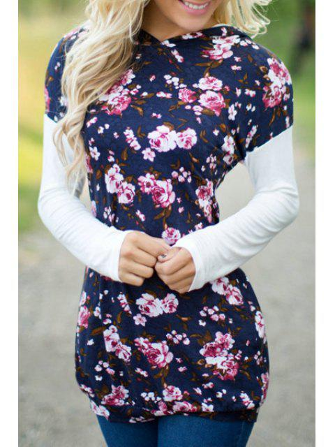 lady Floral Print Pullover Hoodie - BLUE XL Mobile