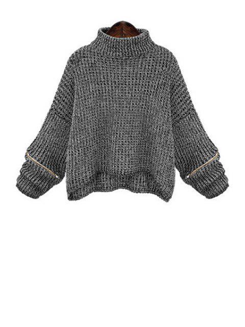 Reißverschluss Übergröße Pullover mit Rollkragen - Dunkelgrau XL  Mobile