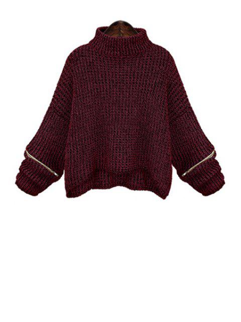 chic Turtle Neck Zippered Oversized Sweater - WINE RED XL Mobile
