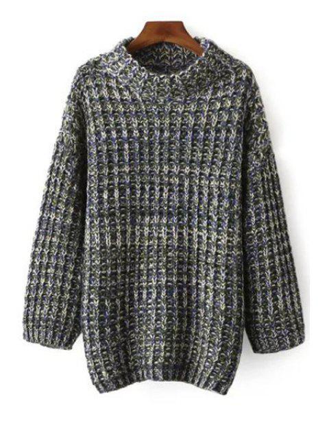 Multi Farbe Langarm Pullover mit Stehkragen - Blau Einheitsgröße(Geeign Mobile