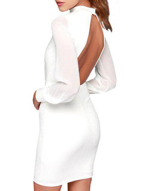 ladies Stand Neck Backless Bodycon Dress - WHITE M Mobile