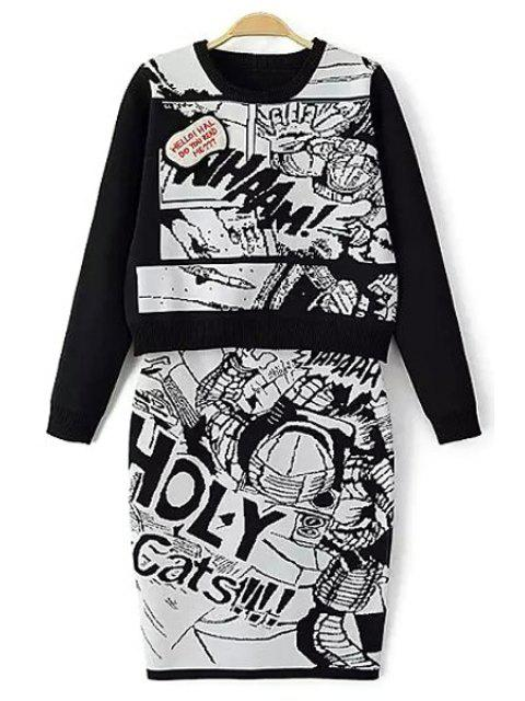 shop Cartoon Print Sweater and Skirt Twinset - WHITE AND BLACK S Mobile