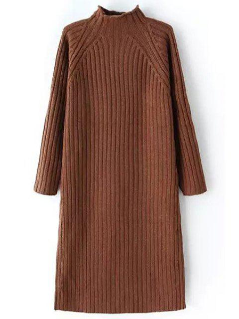 lady Pure Color Turtle Neck Long Sleeve Sweater Dress - COFFEE ONE SIZE(FIT SIZE XS TO M) Mobile