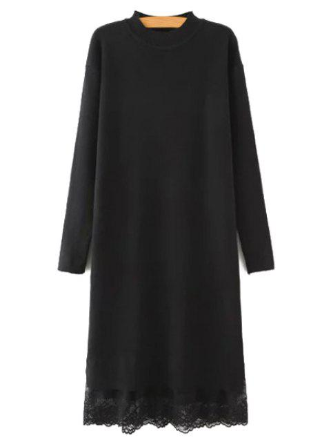 latest Lace Spliced Round Neck Long Sleeves Sweater Dress - BLACK L Mobile