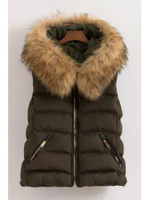 chic Fur Collar Hooded Waistcoat - GREEN 2XL Mobile