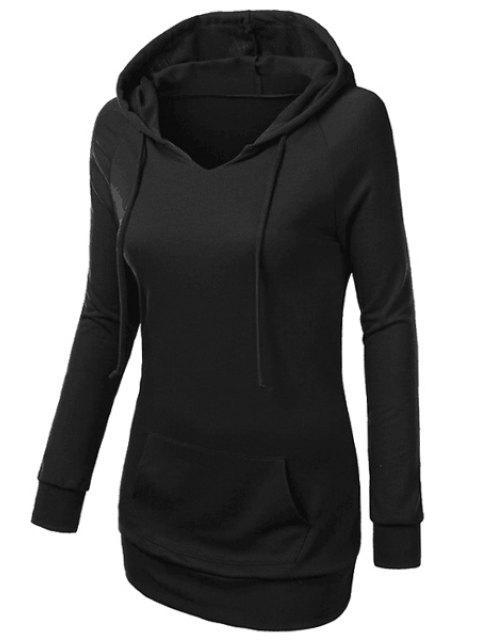 unique Hooded Front Pocket Pullover Hoodie - BLACK S Mobile