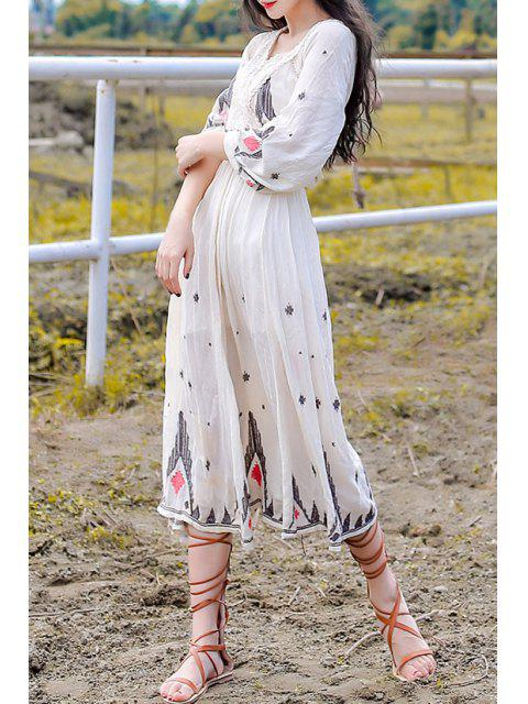 unique Embroidery Plunging Neck Nine-Minute Sleeve Dress - WHITE S Mobile