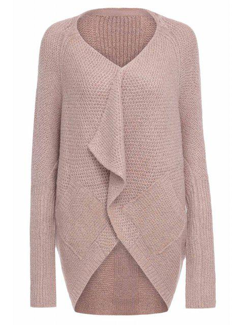 women Loose-Fitting Long Sleeves Solid Color Cardigan - PINK M Mobile