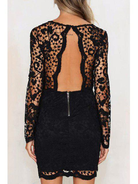 buy Solid Color Openwork Lace Hook Round Collar Dress - BLACK XS Mobile