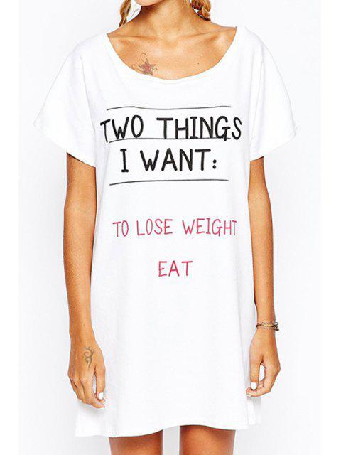 chic Letter Print Scoop Collar Short Sleeves T-Shirt Dress - WHITE S Mobile
