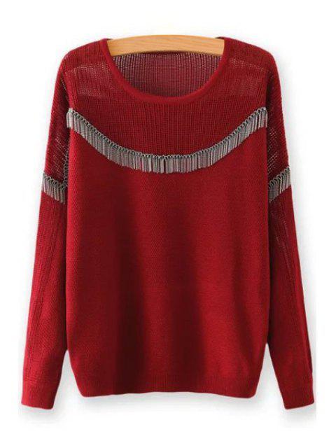 Cadena adornada cuello redondo mangas largas suéter - Vino Rojo Un tamaño(Montar tam Mobile