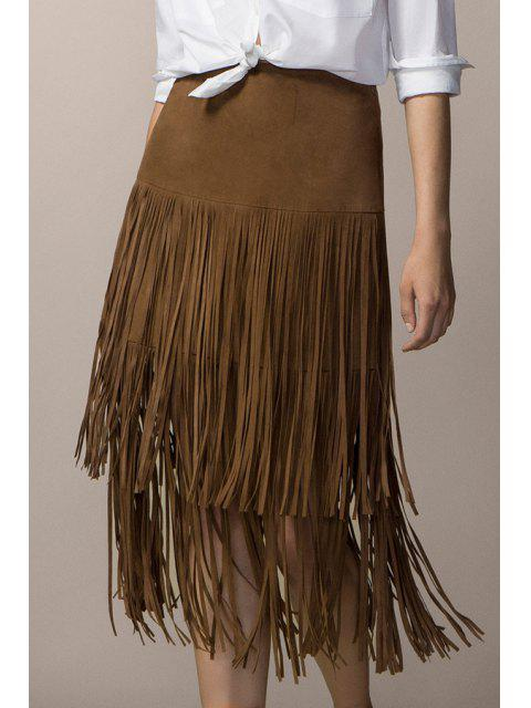 affordable Tassels Faux Suede High Waisted Skirt - KHAKI M Mobile