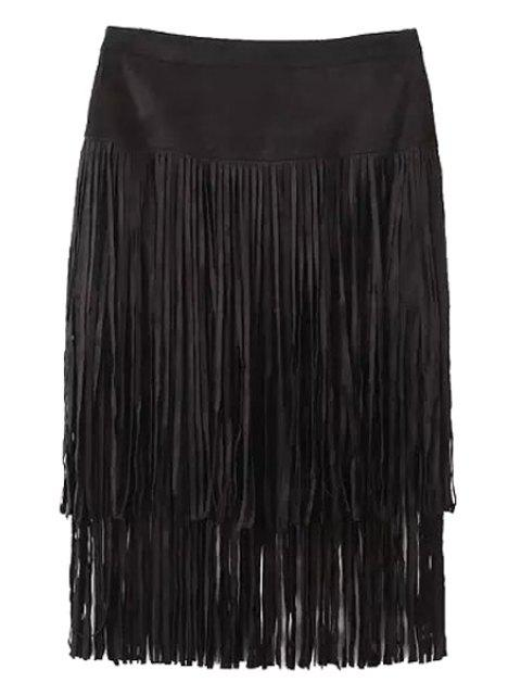 womens Tassels Faux Suede High Waisted Skirt - BLACK S Mobile