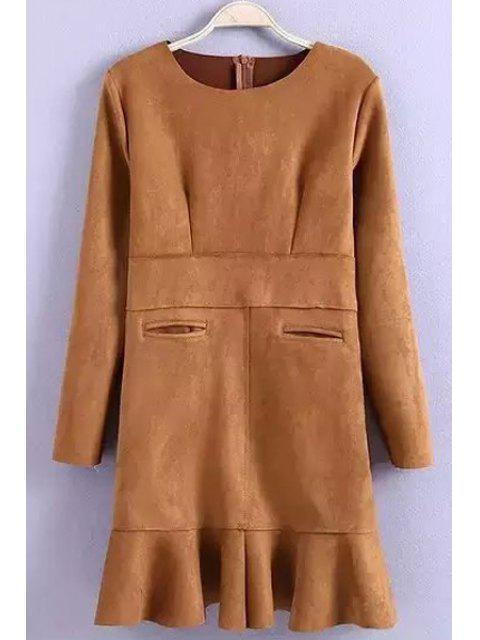 fancy Flounce Solid Color Suede Long Sleeves Dress - KHAKI M Mobile