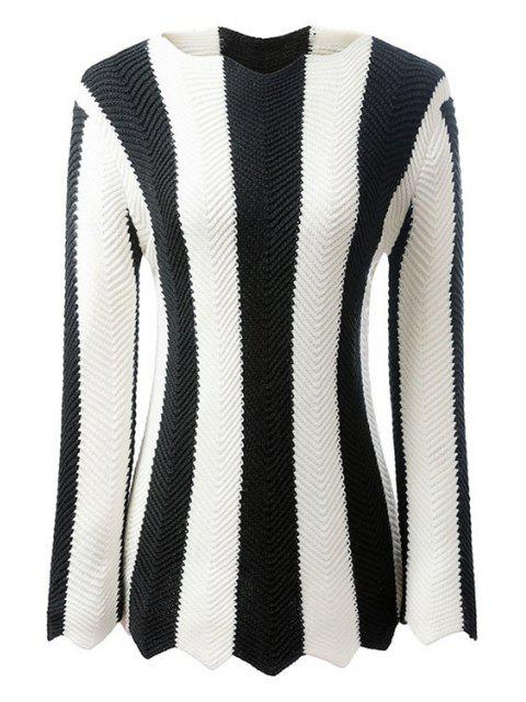 shop Black and White Striped Long Sleeve Jumper - WHITE AND BLACK S Mobile