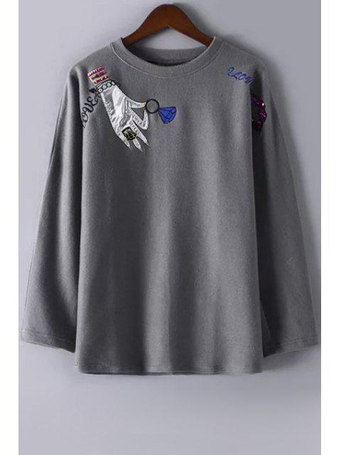women Embroidery Print Woolen Round Collar Long Sleeves Sweatshirt - GRAY L Mobile