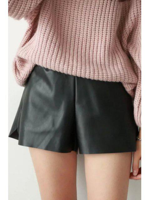 shop PU Leather Solid Color Shorts - BLACK L Mobile