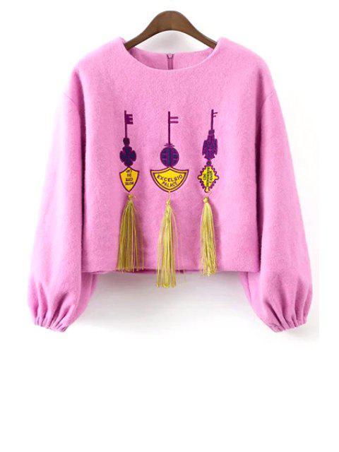women Tassels Long Sleeve Worsted Sweatshirt - PINK S Mobile