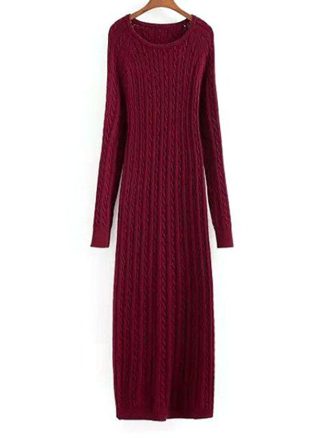 lady Wine Red Long Sleeve Sweater Maxi Dress - WINE RED M Mobile