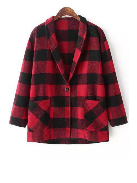 shop Shawl Neck Plaid Wool Blazer - RED WITH BLACK S Mobile
