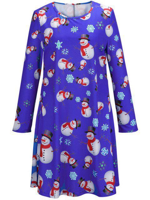 ladies Santa Claus Snowflake Print Long Sleeves T-Shirt Dress - BLUE S Mobile
