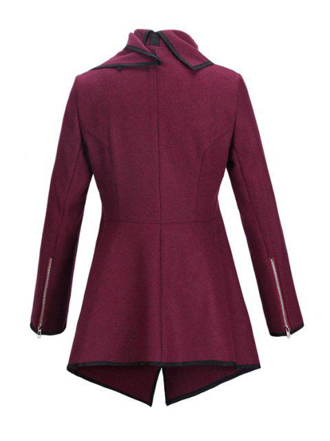 ladies Large Lapel Button Design Piped Trench Coat - WINE RED L Mobile