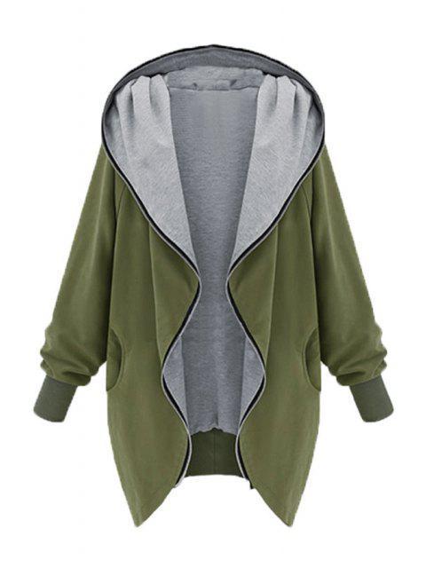 online Zip Up Loose Fit Hoodie - ARMY GREEN M Mobile