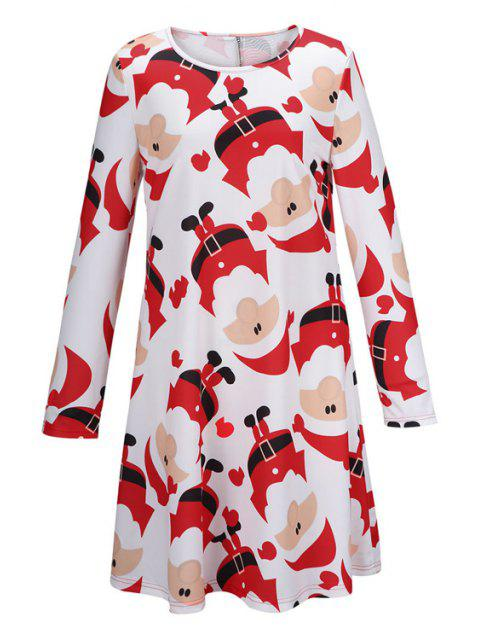 latest Santa Claus Print Fit and Flare Dress - WHITE M Mobile
