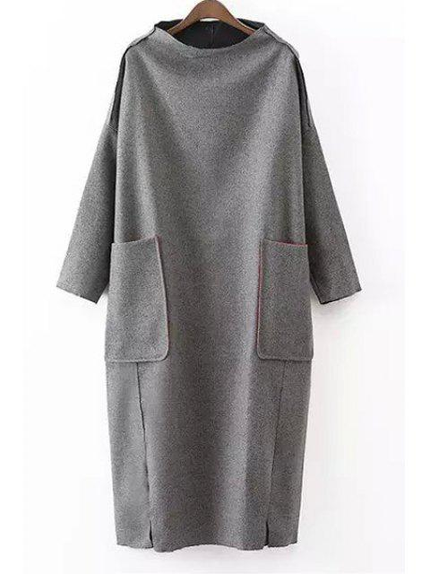outfit Solid Color Pockets Stand Collar Long Sleeves Dress - GRAY ONE SIZE(FIT SIZE XS TO M) Mobile