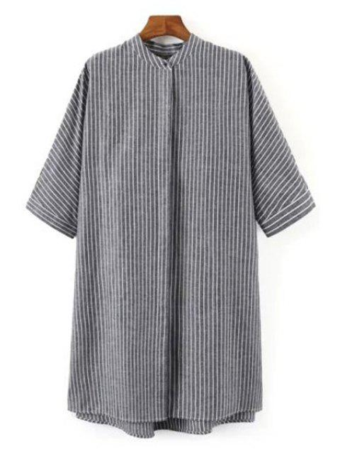 trendy Striped Print Stand Collar Half Sleeves Shirt - GRAY M Mobile