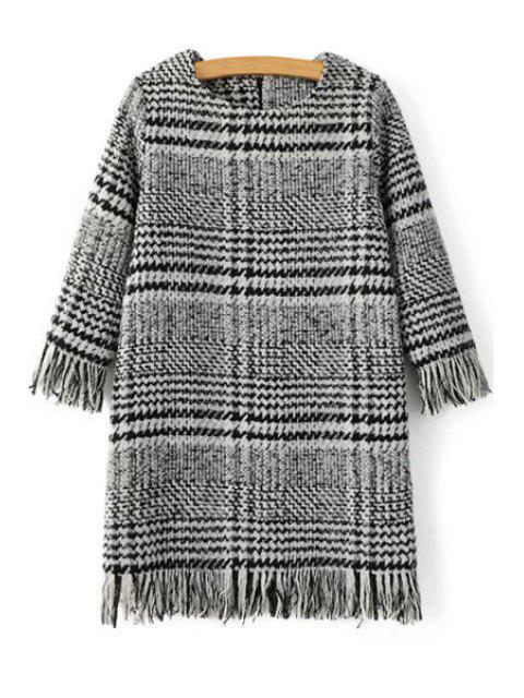 women's Houndstooth Jewel Neck 3/4 Sleeve Dress - GRAY M Mobile