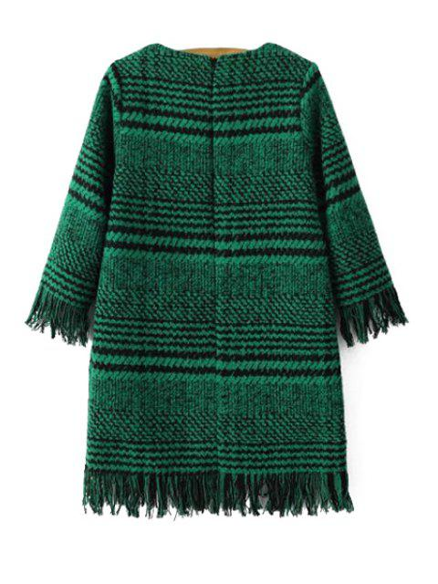 outfits Houndstooth Jewel Neck 3/4 Sleeve Dress - GREEN S Mobile