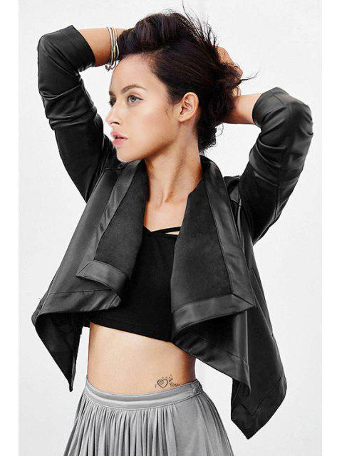 women's Large Lapel Black PU Leather Jacket - BLACK M Mobile