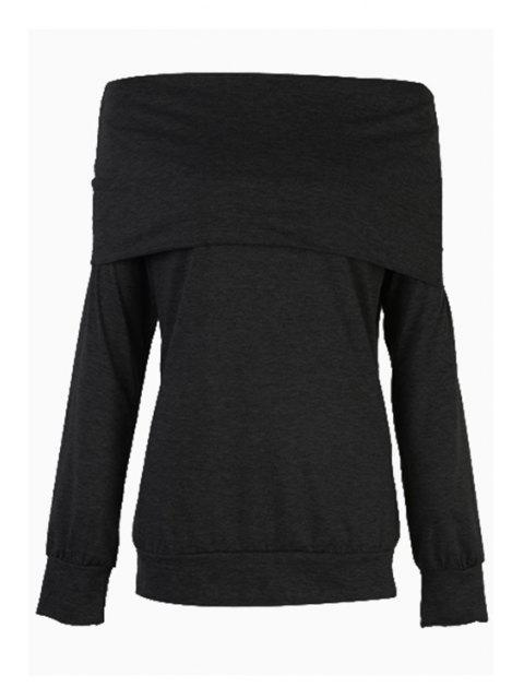 outfits Solid Color Off The Shoulder Long Sleeves T-Shirt - BLACK M Mobile