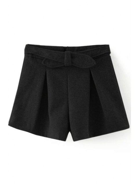 online Solid Color Wide Leg Bowknot Shorts - BLACK M Mobile