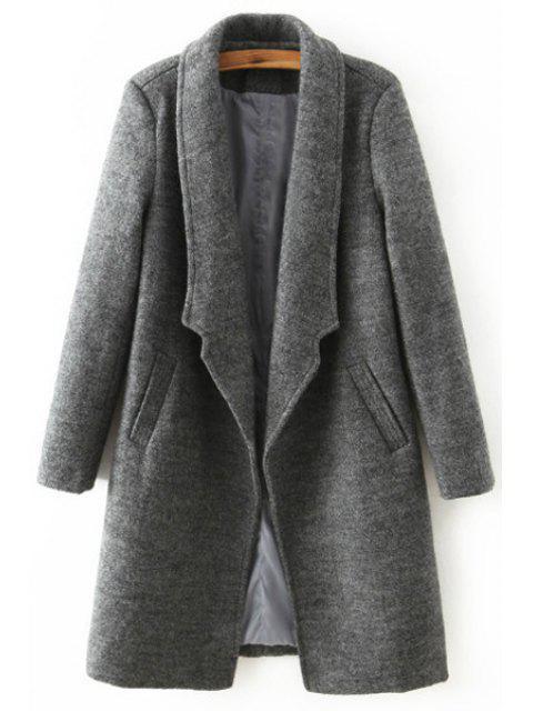 hot Solid Color Pocket Design Wool Coat - DEEP GRAY L Mobile