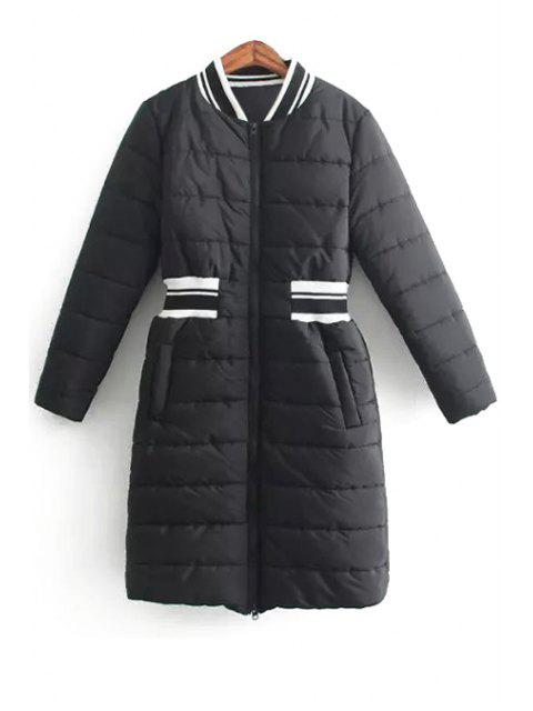 unique Spliced Stand Collar Long Sleeves Padded Coat - BLACK L Mobile