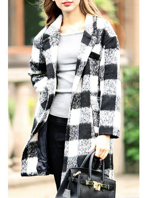 online Worsted Checked Lapel Long Sleeve Coat - WHITE S Mobile