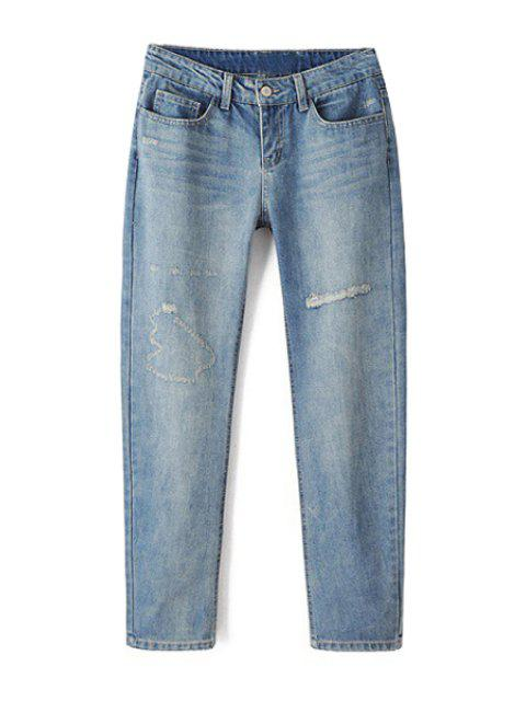 affordable Bleach Wash Ripped Light Blue Jeans - LIGHT BLUE L Mobile