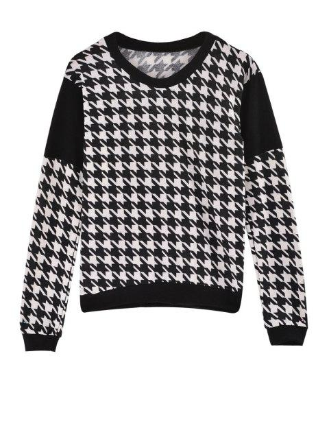 outfit Houndstooth Jewel Neck Long Sleeve Sweatshirt - WHITE AND BLACK ONE SIZE(FIT SIZE XS TO M) Mobile