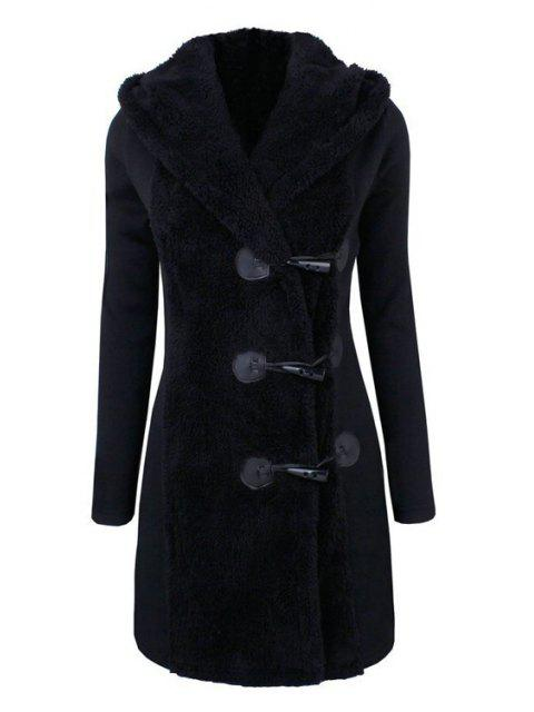 chic Hooded Horn Button Flocking Coat - BLACK 2XL Mobile
